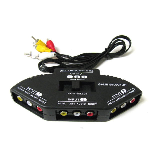3-Way-Audio-Video-AV-RCA-Black-Switch-Selector-Box-Splitter-with-3-RCA-Cable